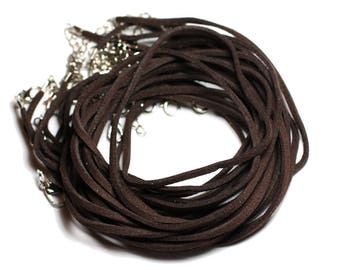 5pc - cou 45cm suede Brown Coffee 2x1mm towers necklaces - 4558550005908