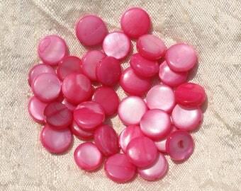 20pc - Pearl shell beads 10mm pink Fuchsia 4558550017048