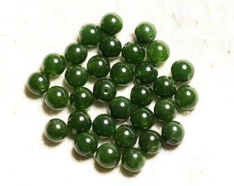 10pc - stone beads - Jade 8mm Green Olive 4558550008770 balls