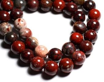 4pc - stone beads - red balls 12 mm - 4558550027108 poppy Jasper