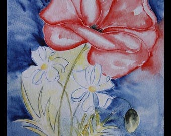 pretty creabijoux - summer 2014 illustration original watercolor on arches poppies & Tokyo collection!