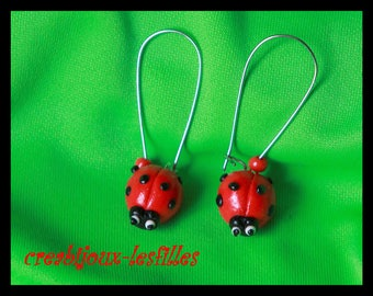 polymer clay earring Ladybug birthday jewelry gift