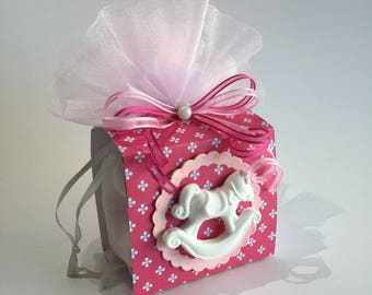 Favor bag Fuchsia and pink rocking horse christening girl
