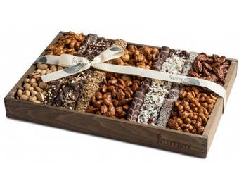 The Nuttery Wooden Signature Chocolates and Nuts Gift Tray-Kosher Gourmet Chocolate and Nut Gift Basket-Chocolate and Nuts  Mix