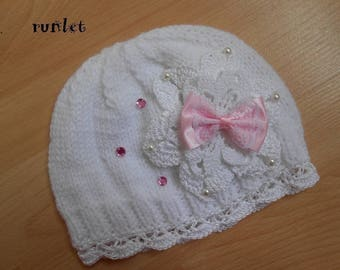 Baby hat, shabby chic baby pink flower bow 0-6 months. .