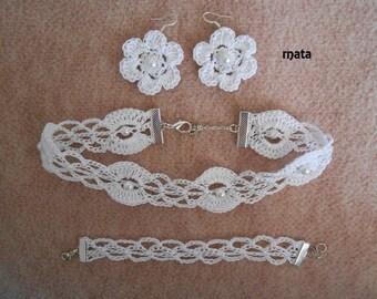 white crochet cotton jjewelry