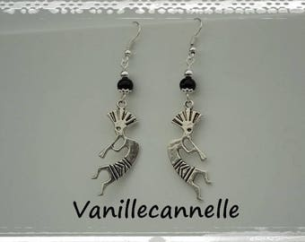 Musician earrings Zulu tribal ethnic rain silver-plated beads faceted glass black designer jewelry