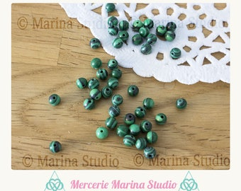 20 beads malachite 4mm for jewelry creations