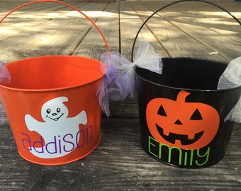 Personalized Halloween candy bucket.