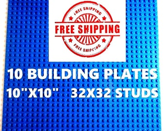 "10 New Lego Compatible 10""x10"" Blue Base Plates Board and 1 Genuine Lego Brick"