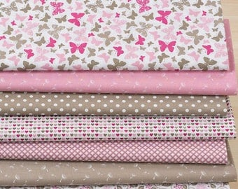 "Set of 7 fabric patchwork 30 x 25 cm ""rose/taupe"""