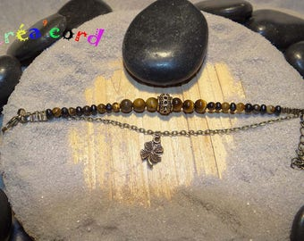 Thin chain bracelet and Tiger eye bead