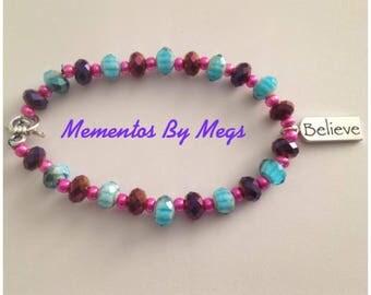 """Multicolored """"Believe"""" Bracelet"""