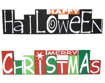 Holiday Time Reversible Halloween/Christmas Wooden Blocks