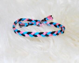 Bracelet pink turquoise black braided friendship bracelet hippie fashion Brasilda