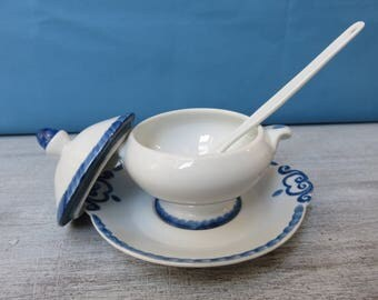 Sugar/jam porcelain blue decoration