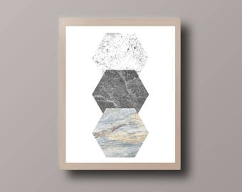 Scandinavian Print, Marble Grunge, Abstract Geometric, Minimalist Geometric, Wall Art Prints, Polygon, Office Print
