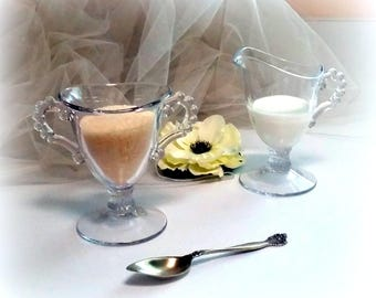50s CANDLEWICK Footed Creamer & Sugar Set - Imperial Glass Company - Elegantly Beautiful