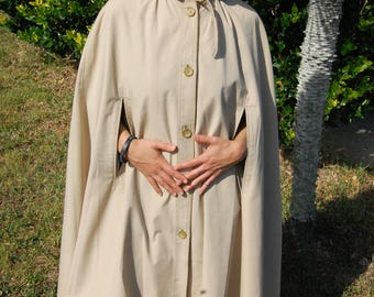 Vintage long hooded cloak made in Poland 1970s