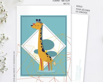 Decorative giraffe card postcard illustration - child and adult