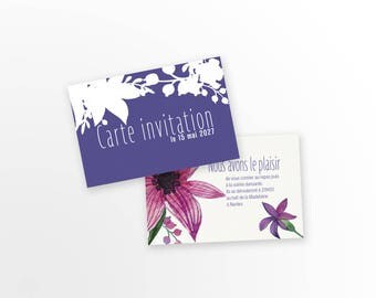 Card - Blue Flower - wedding invitation to customize