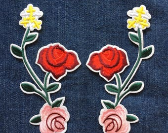 Red Floral Patch - Iron on Patch, Sew On Patch, Embroidered Patch