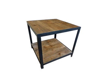 Low loft style side table / industrial distressed wood and steel
