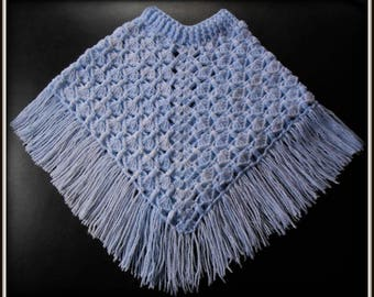 poncho baby 12-18 months crocheted acrylic blue multicolored