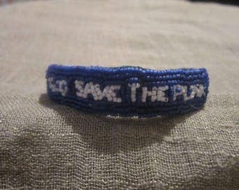embroidered, blue and white beaded embroidery, unique bracelet.
