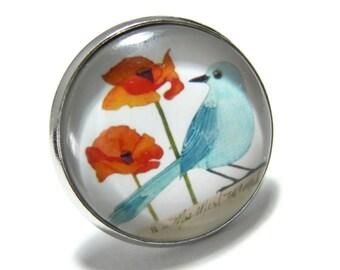 Designer jewelry: large turquoise bird platinum silver ring