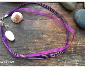 Cord Choker 45 cm purple waxed cotton and organza