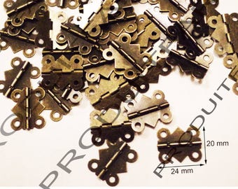 Set of 10 Bronze hinges for jewelry box chest box matching screw 20 * 24 mm