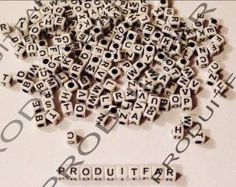 Lot 100 letters beads Cube acrylic Alphabet size 6 mm black and white necklace jewelry pendant