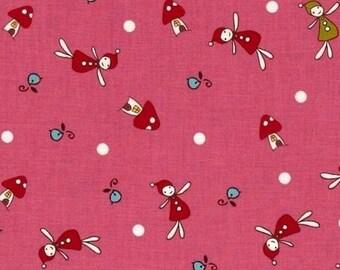 Lecien Pixies woodland pink patchwork fabric