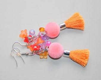 Flowering velvet beads earrings