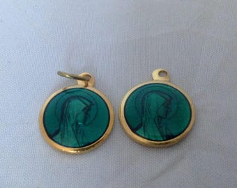 French Vintage Blue Enamel Our Lady Of Lourdes Medals Two Pendants Earrings Catholic Saint Medals ( Ref no. Z11)