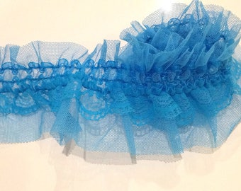 2 meters elastic lace turquoise 7 cm
