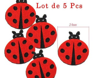 Set of 5 Pcs: ladybugs in felt. Beautiful Scrapbooking decoration size approx 24mm red and black.