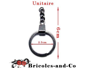 Key chain ring Black 6cm with chain links