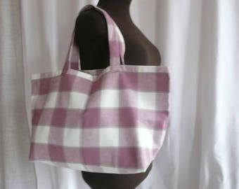 Pink Plaid fabric grocery bag