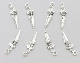 8 vintage silver-plated 25x7mm umbrella charm