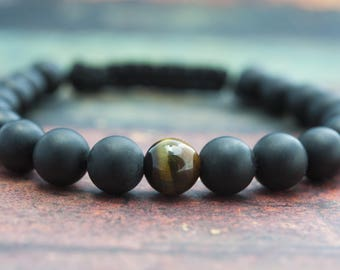 Gifts for Mens Jewelry Energy Bracelet Yoga Bracelet Healing Bracelet Black Bead Bracelet Gemstone Bracelet Gift for him Black Cord Bracelet