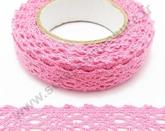Fabric adhesive tape - pink lace - 17mm x 2.5 m