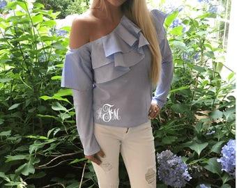 Monogram Shirt, Monogram Long Sleeve Shirt, Monogram Ruffle Shirt, Monogram Dress Shirt