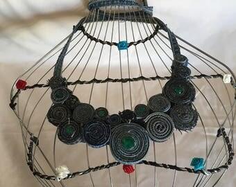 Original denim handmade necklace