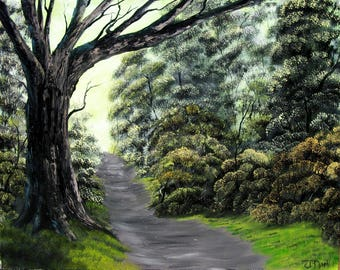 Somber Forest Path, Original Landscape, Oil Painting on Canvas