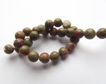 31 round beads smooth unakite natural 6 mm KIZI-109