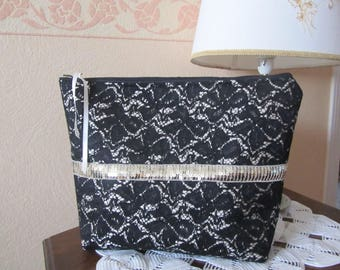 Large toiletry bag in black and beige lace fabric