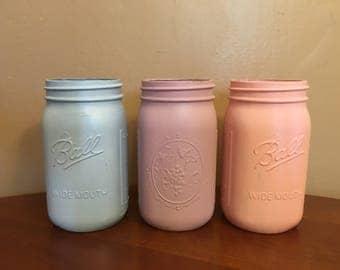 Pastel Mason Jar Set-- Quart Sized