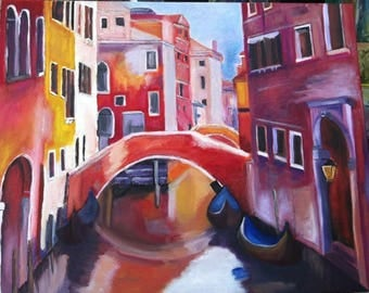 Painting sold Al oil canals of Venice